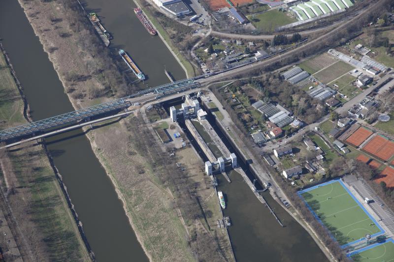 Neckar water gate Feudenheim