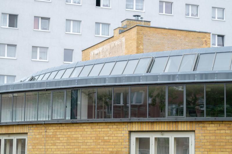 Arbeitsamt (heute: Amt für öffentliche Sicherheit und Ordnung der Stadt Dessau-Roßlau), Detail, Dessau-Roßlau (Sachsen-Anhalt), Architekt:  Walter Gropius, 1928-29.