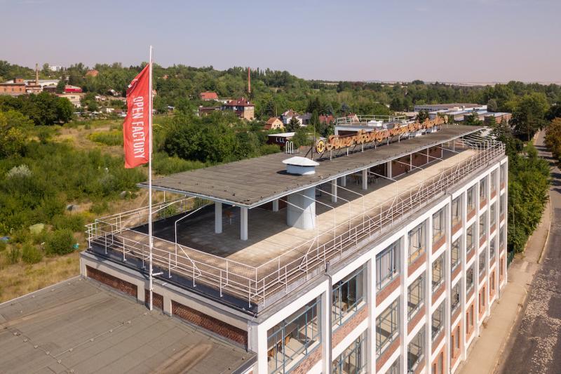 Eiermann building, Apolda: roof deck