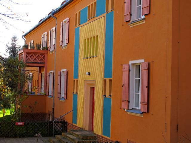 Gartenstadt Falkenberg (Tuschkastensiedlung), Fassade mit Rauten