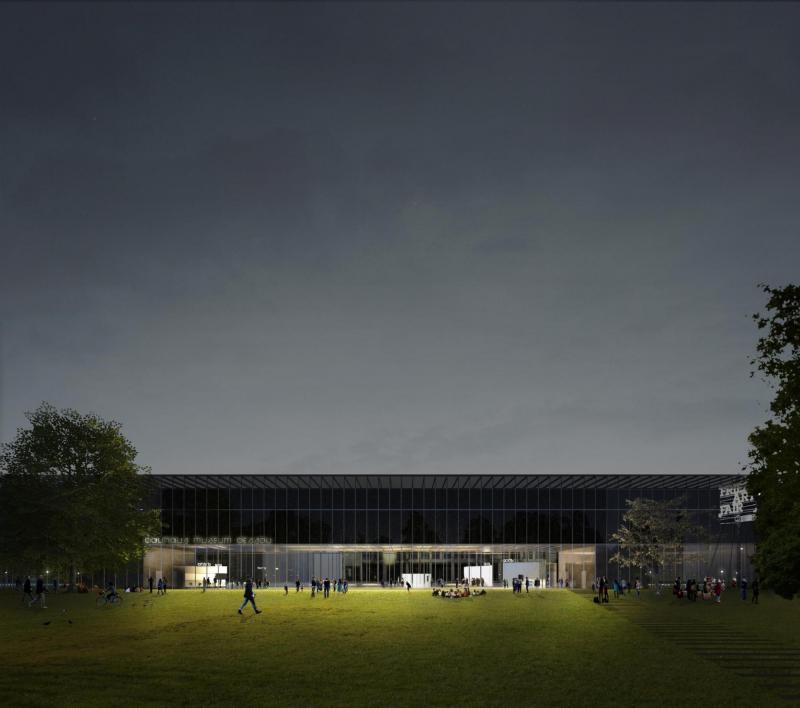 Entwurf Bauhaus Museum Dessau, Ansicht Stadtpark bei Nacht
