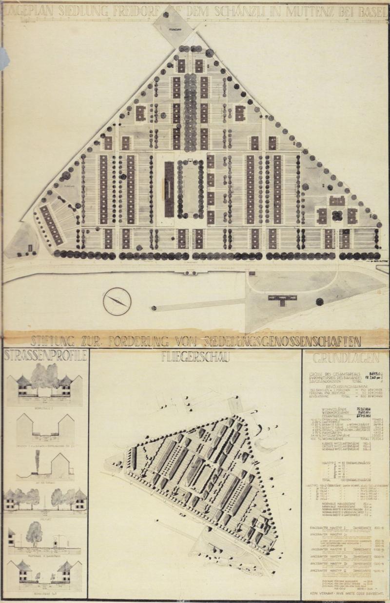 Siedlung Freidorf. Lageplan, Fliegerschau Axonometrie, Straßenprofile und Erläuterungen zur Ausführungsplanung, 1920.