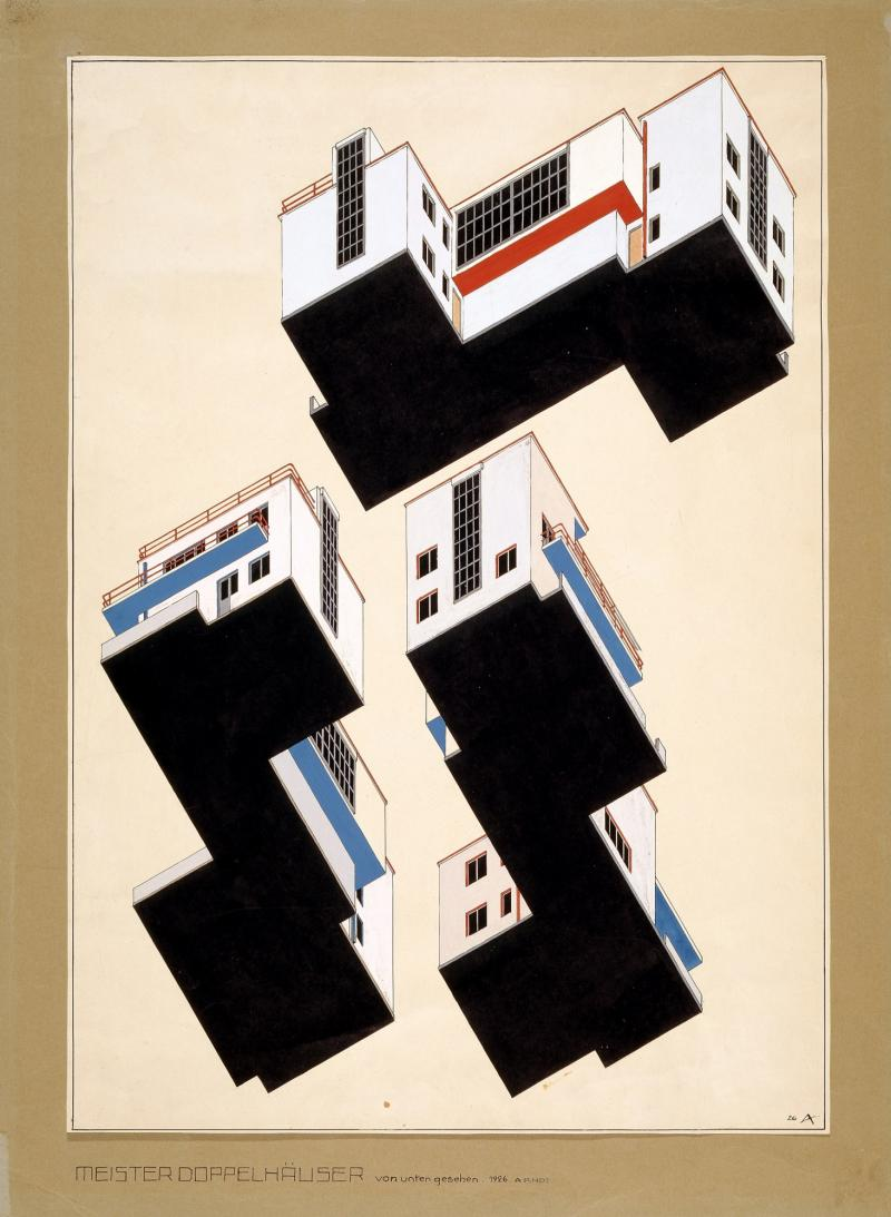 Colour plan for the exterior design of the master semidetached houses in Dessau, author: Alfred Arndt, 1926.