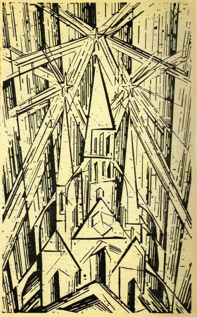 Cathedral, cover of the manifesto and programme of the Weimar State Bauhaus, Author: Lyonel Feininger, April 1919.