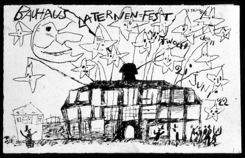 Postcard for the Lantern Festival on June 21, 1922, Author: Lyonel Feininger, 1922.