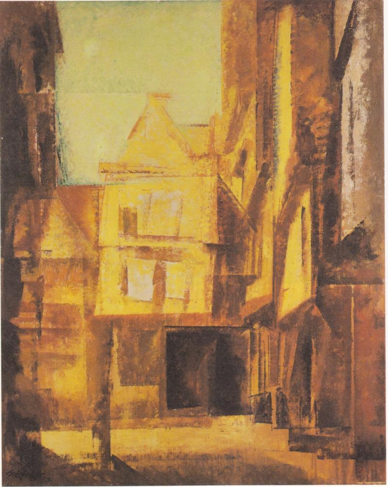 Halle. Am Trödel, Author: Lyonel Feininger, 1929.