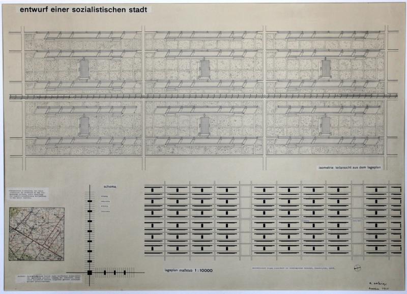 Entwurf einer sozialistischen Stadt − Lageplan (Blatt 1): Abschlussarbeit innerhalb der Baulehre bei Ludwig Hilberseimer M. 1:10000, Autor: Reinhold Rossig (Unterricht Ludwig Hilbersheimer), 10.6.1931.