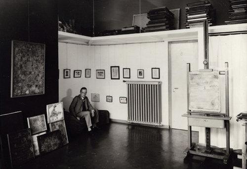 Paul Klee in his workshop in his Masters' House, Dessau, photo: Lucia Moholy, 1927.