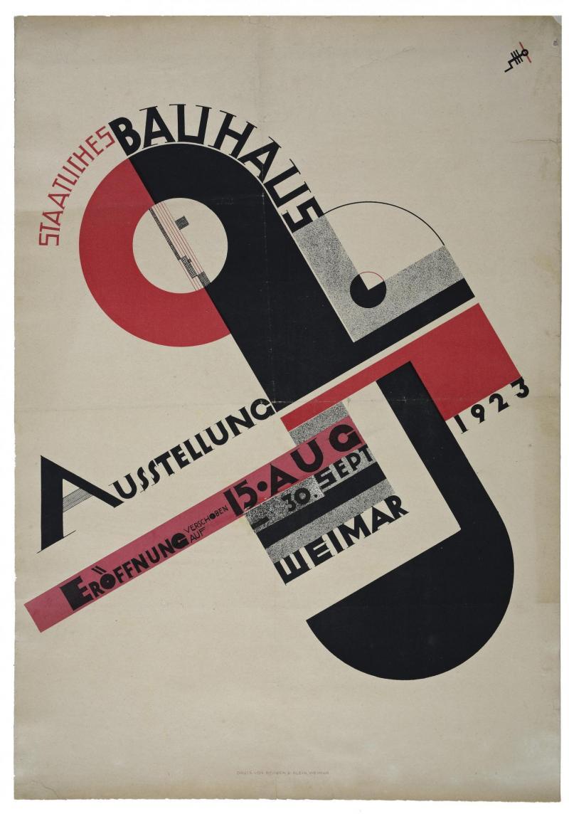 Poster for the 1923 Bauhaus Exhibition in Weimar, Author: Joost Schmidt.