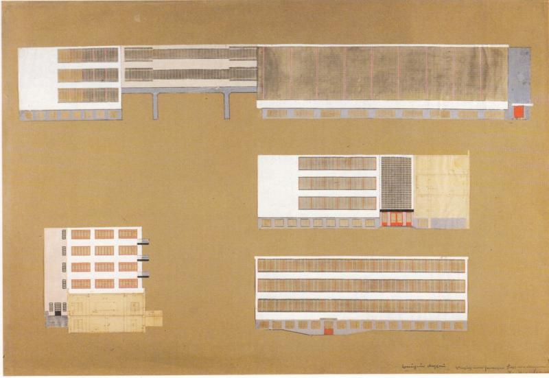 Experimental colour plan for the façade of the Bauhaus Building, Author: Hinnerk Scheper, 1926.