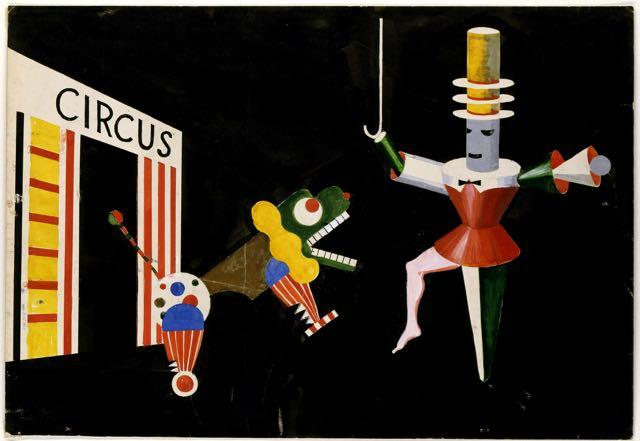 Circus, Draft for a stage scene (tamer and beast), Draft: Xanti Schawinsky, 1924.