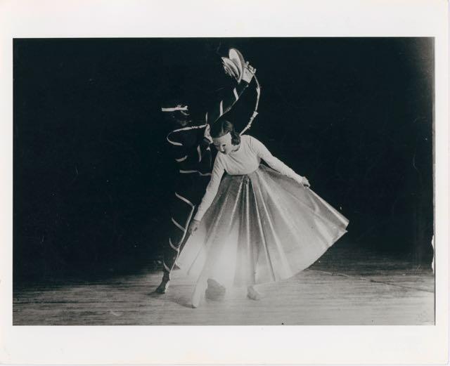 Danse Macabre, scene photo of a performance at Black Mountain College, Design: Xanti Schawinsky, Music: John Evarts, North Carolina, 14 May 1938: scene 'Gentle Woman Amorosa', 1938, Reproduction 1976.