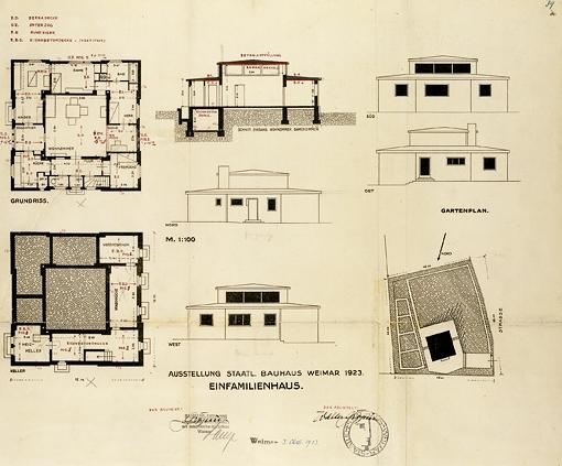 Application for a Building Permit for the Haus Am Horn. Draft: Georg Muche, 1923.