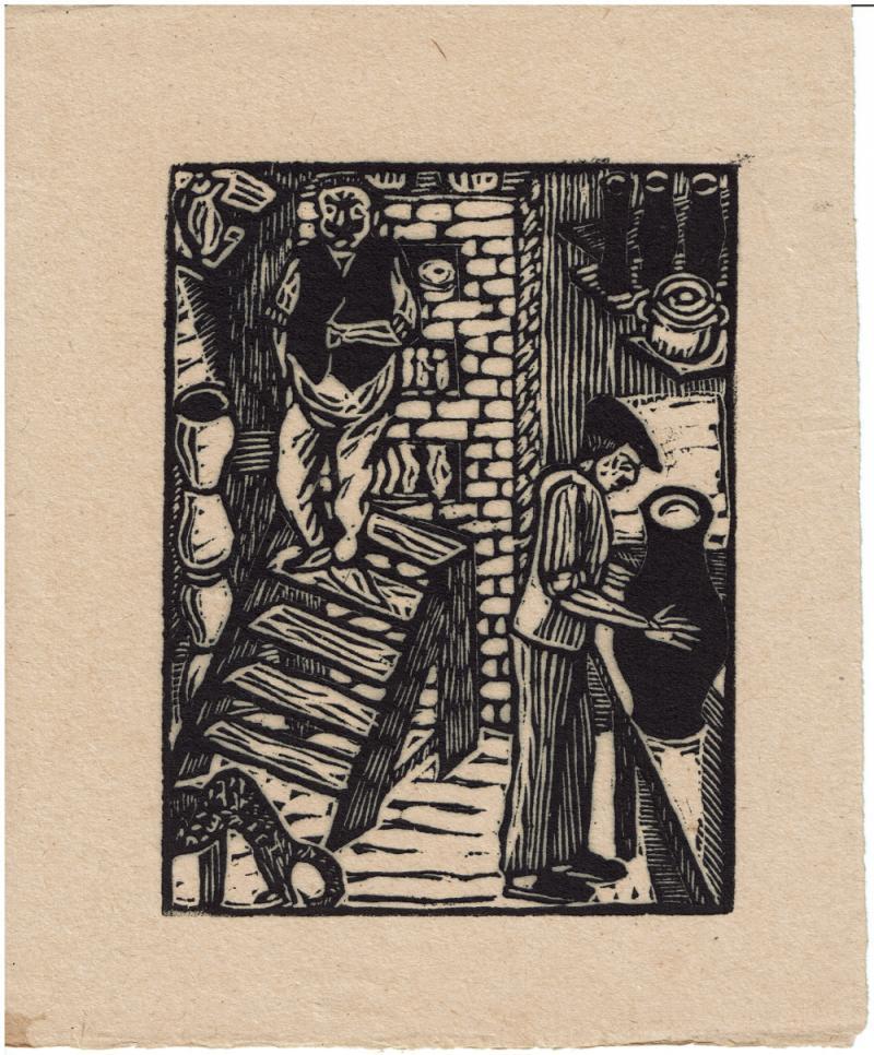 Die Töpfermeister mit Minka, Holzschnitt, 1925, Nachdruck des Originalholzschnittes vom Klischee, Größe 12,0 x 15,8 cm, 1924/2012, Autor: Wilhelm Löber.