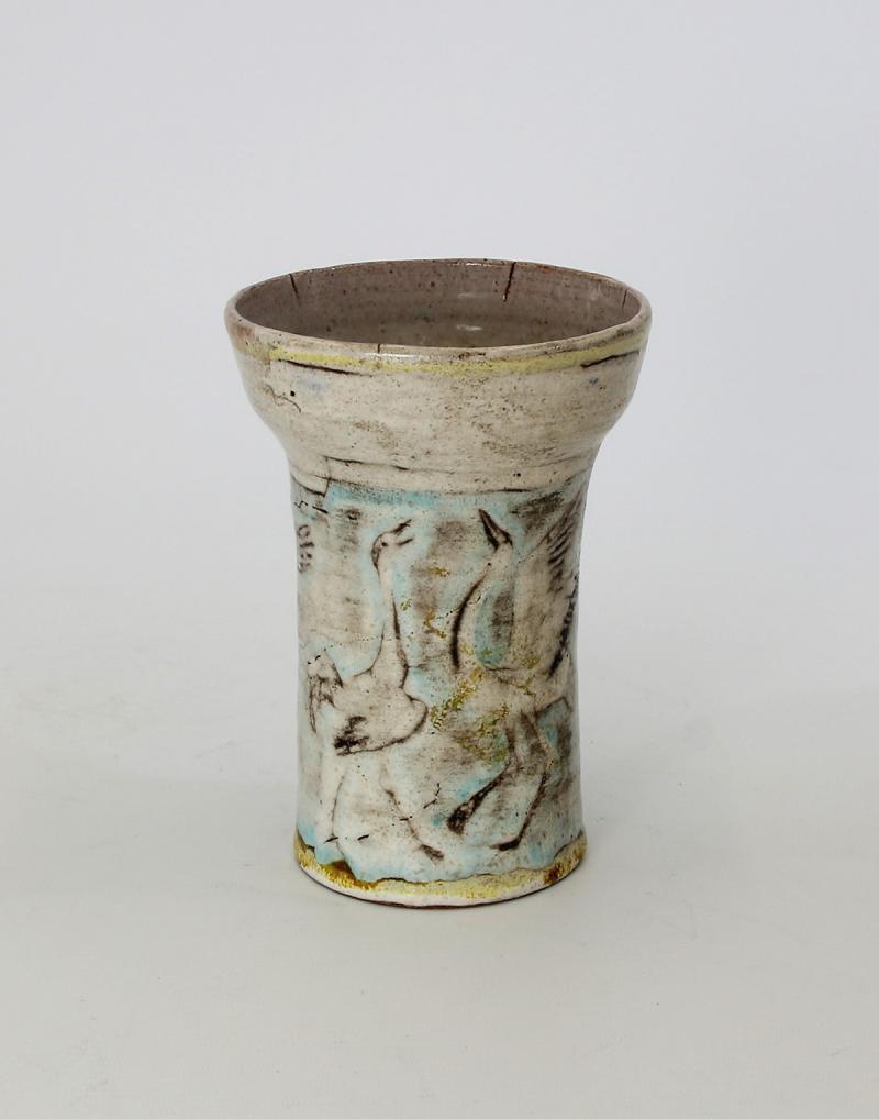 Vase mit Kranichen, Wilhelm Löber, Höhe 16,5 cm, 1975, Foto: Lutz Grünke.