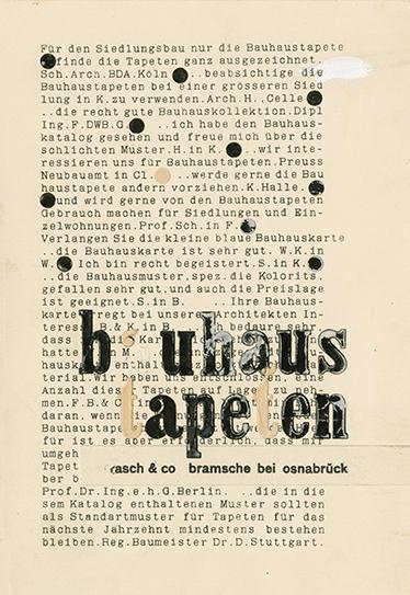 """Moses Bahelfer, Bauhaus-Anzeige """"bauhaus tapeten"""" Nr. 5, Reinzeichnung, Montage für Klischeeherstellung, Unterricht Joost Schmidt, Druck- und Reklame-Werkstatt, 1930."""