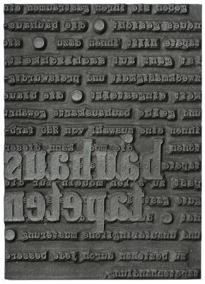 Moses Bahelfer, Bauhaus-Anzeige (Variante) 'bauhaus tapeten' Nr. 5, Zink-Klischee, 1930.