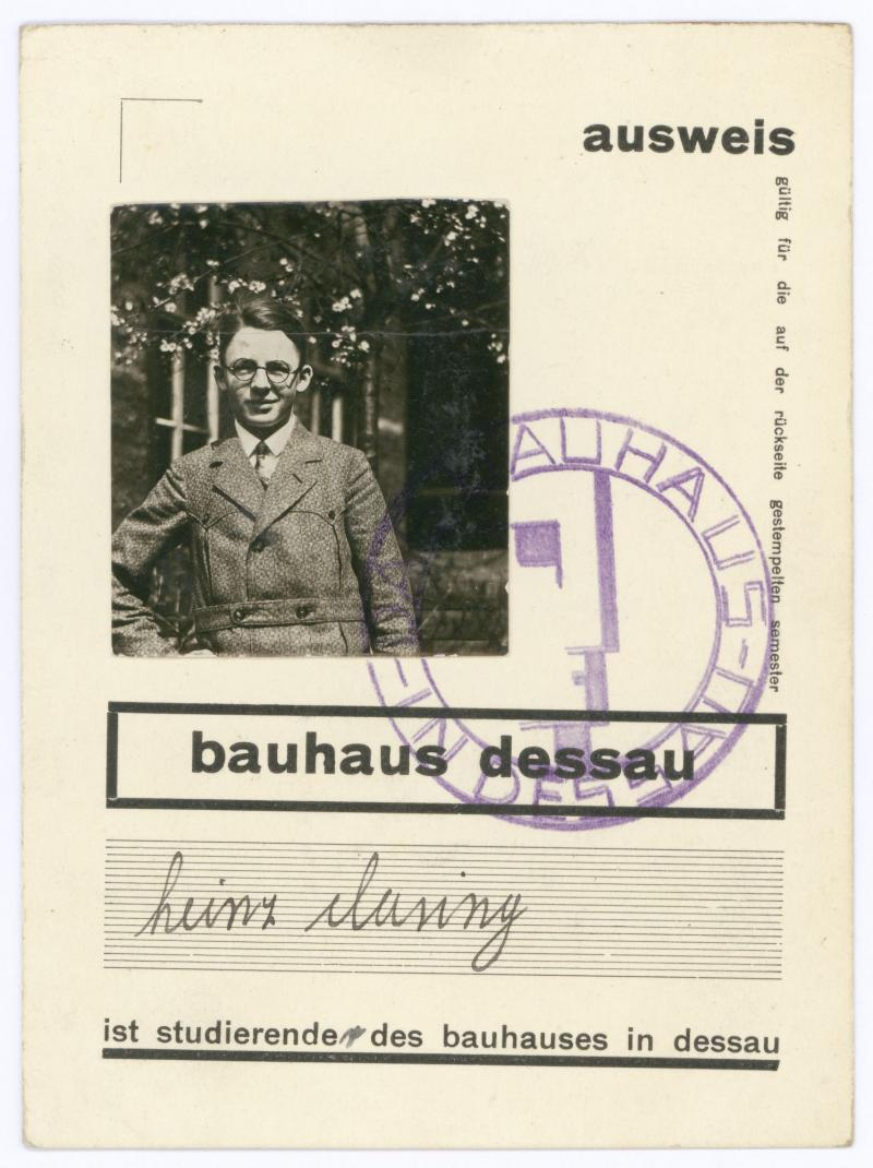Studierenden-Ausweis, bauhaus dessau, Heinrich Clasing, 1930.