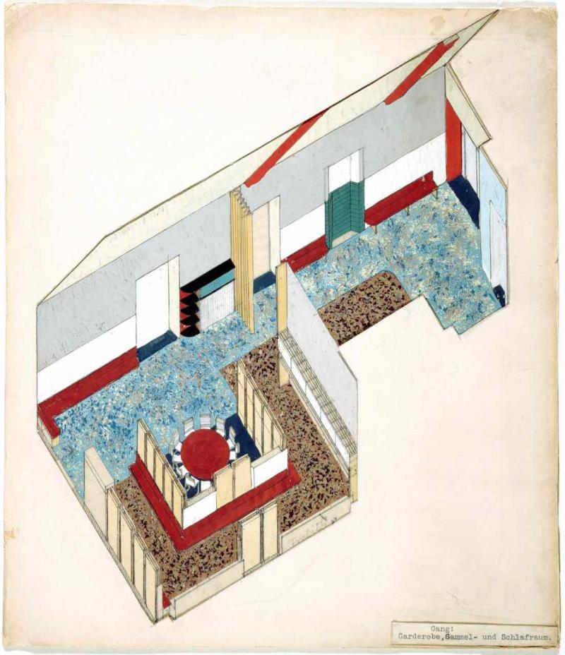 """Städtischer Kindergarten Goethehof, Wien II, Schüttaustraße, Axonometrie """"Gang: Garderobe, Sammel-und Schlafraum"""", Entwurf: Franz Singer, Mitarbeit: Friedl Dicker, Foto: Pfitzner-Haus, 1932."""