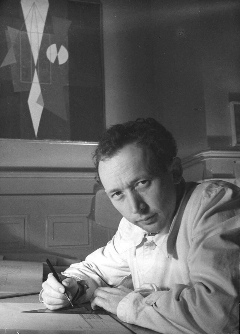 Hans Fischli im Büro, Foto: Heinz Guggenbühl, um 1944.