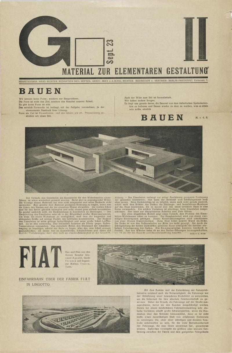 G II. Material on elementary design, September 1923, Title page, Publisher: Hans Richter, Editor: Werner Graeff and Ludwig Mies van der Rohe, 1923.