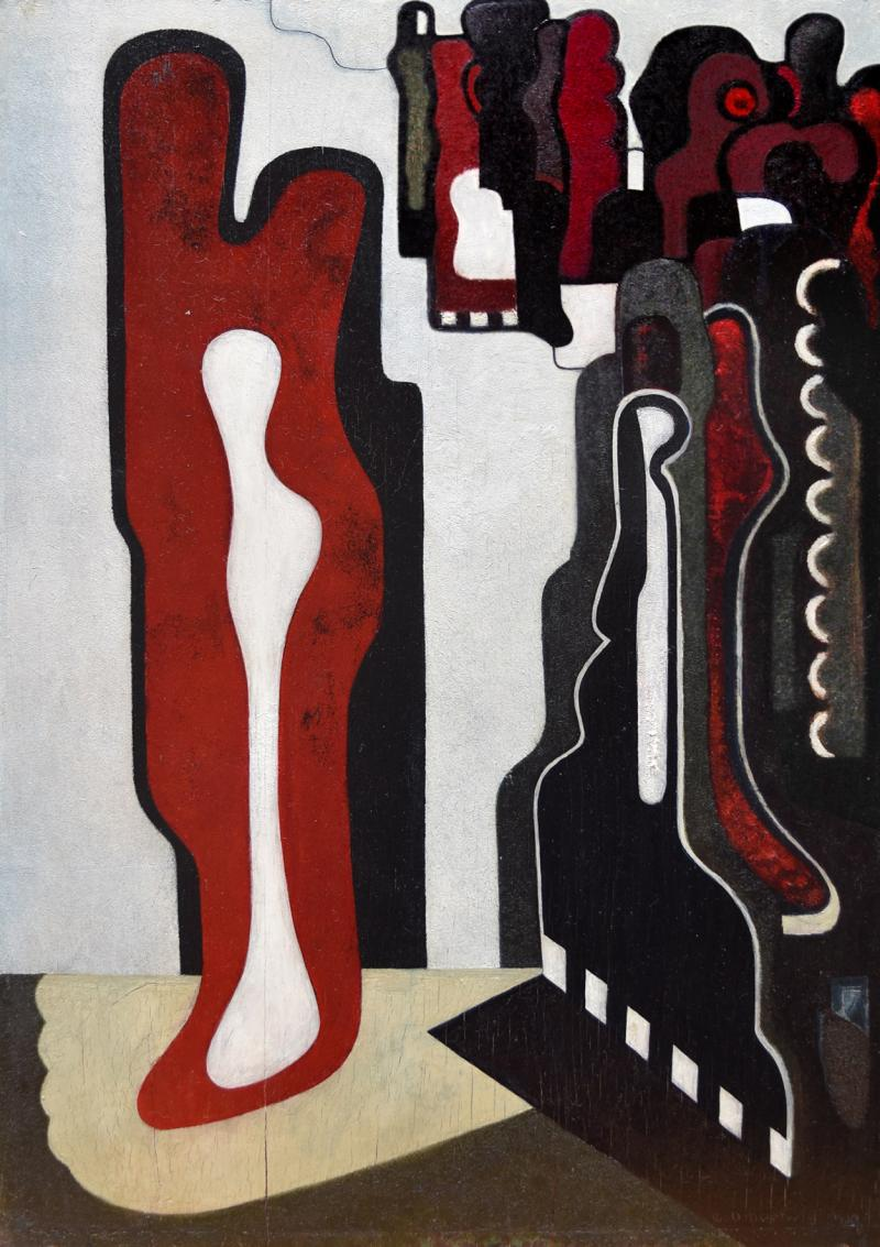 Emil Bert Hartwig, Composition, Oil on wood, 50.5 x 36.5 cm, 1930.