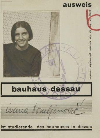 Student-ID, Ivana Tomljenović, bauhaus dessau, 1929–1930.