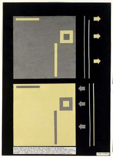 """""""gelbe formen auf blauem grund und blaue formen auf gelbem grund"""", Studie aus dem Farbseminar Kandinsky, Autor: Hans Thiemann, 1930."""