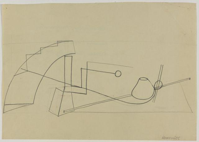 Analytische Zeichnung aus dem Unterricht Kandinsky, Bauhaus Weimar, Autor: Ida Kerkovius, 1922–1923.