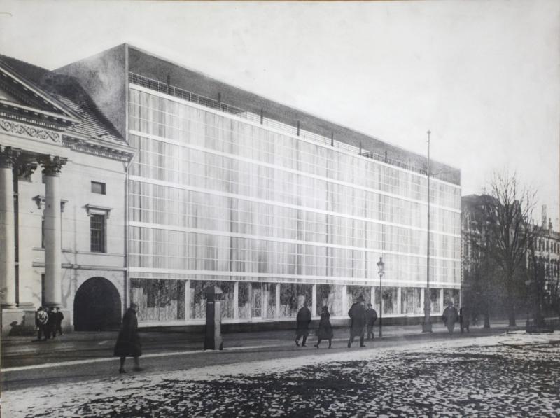 Projekt für den Umbau des Kaufhauses Borchardt in Dessau, Ansicht der Fassade, Entwurf: Eduard Ludwig, 1931.