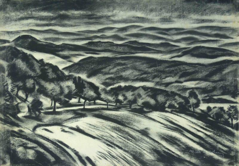 Rhön Landscape, Author: Max Nehrling, 1920, Charcoal on paper.