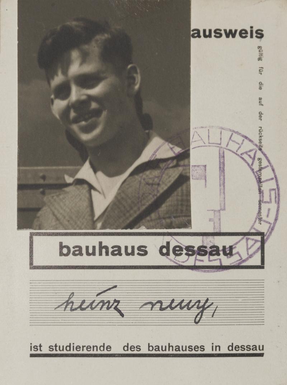 Student ID, Heinrich Neuy, Bauhaus Dessau, 1930, Photo: Fritz Kuhr.