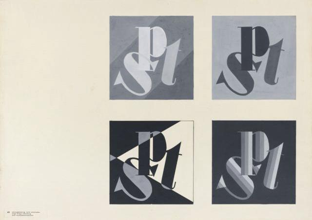 'Letters in different colours', Printing and Advertising Workshop, Author: Friedrich Reimann, 1932.