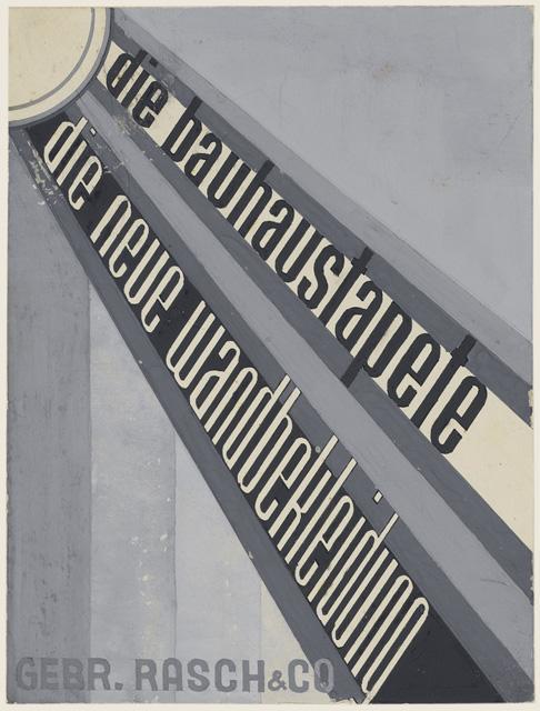 """die bauhaustapete – die neue Wandbekleidung, Gebr. Rasch & Co"", Design for advertisement of Bauhaus wallpapers, Class by Joost Schmidt, Printing and Advertising Workshop, part of a 52-pieces exercise series – No. 38, Author: Friedrich Reimann, 1931–1932, 42 x 59,5 cm, tempera, three shades of grey."