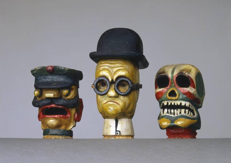 Hand-puppet heads (Bailiff, doctor, death), Karl Peter Röhl, around 1920, wood.
