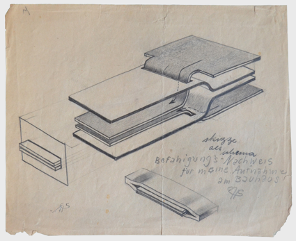 'draft as schema', Study with pencil on paper, Author: Arthur Schmidt, 1929.