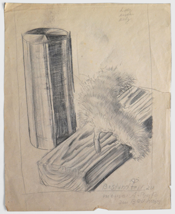 'wood, iron, fur', Material study with pencil on paper, Author: Arthur Schmidt, 1929.