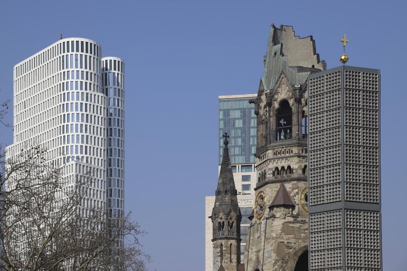 Kaiser-Wilhelm-Gedächtniskirche, Berlin, Architekt: Egon Eiermann, 1957–61.
