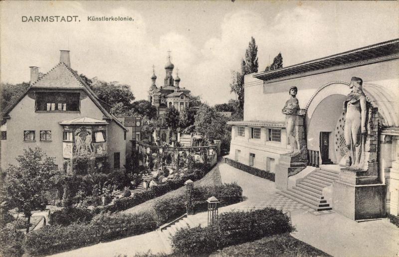 Mathildenhöhe, Historische Postkarte, um 1935, Darmstadt (Hessen), Architekten: Peter Behrens, Bernhard Hoetger, Joseph Maria Olbrich, Albin Müller, 1901–14.